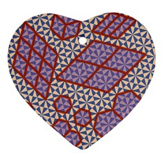 Triangle Plaid Circle Purple Grey Red Ornament (heart) by Alisyart