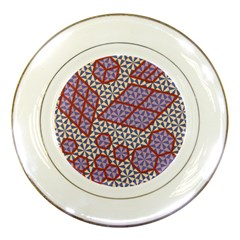Triangle Plaid Circle Purple Grey Red Porcelain Plates by Alisyart