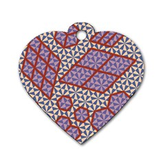 Triangle Plaid Circle Purple Grey Red Dog Tag Heart (one Side) by Alisyart