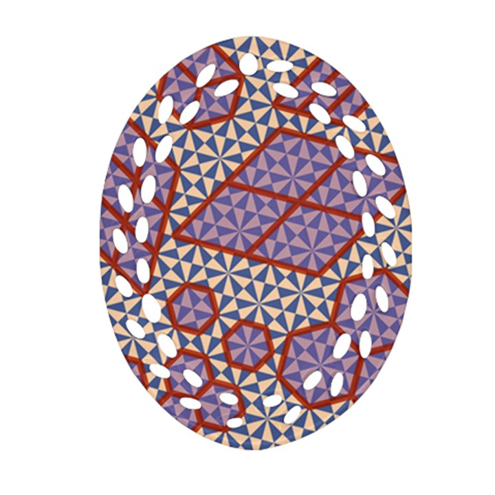 Triangle Plaid Circle Purple Grey Red Ornament (Oval Filigree)