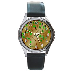 Tree Root Leaves Contour Outlines Round Metal Watch by Simbadda