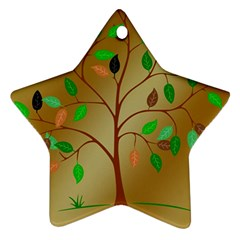 Tree Root Leaves Contour Outlines Ornament (star) by Simbadda