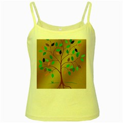 Tree Root Leaves Contour Outlines Yellow Spaghetti Tank