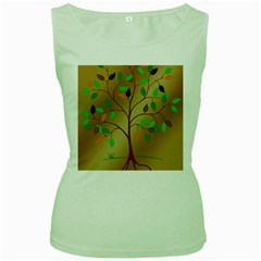 Tree Root Leaves Contour Outlines Women s Green Tank Top by Simbadda