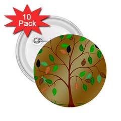 Tree Root Leaves Contour Outlines 2 25  Buttons (10 Pack)  by Simbadda