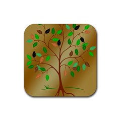 Tree Root Leaves Contour Outlines Rubber Coaster (square)  by Simbadda