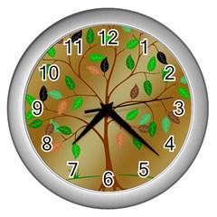Tree Root Leaves Contour Outlines Wall Clocks (silver)