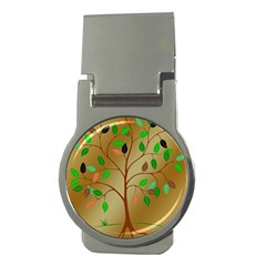Tree Root Leaves Contour Outlines Money Clips (round)  by Simbadda