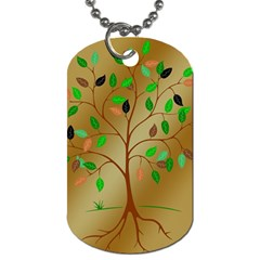 Tree Root Leaves Contour Outlines Dog Tag (two Sides) by Simbadda
