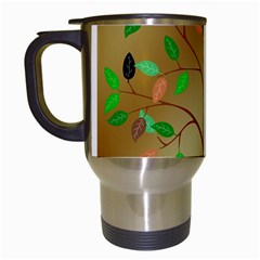 Tree Root Leaves Contour Outlines Travel Mugs (white) by Simbadda