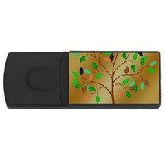 Tree Root Leaves Contour Outlines Usb Flash Drive Rectangular (4 Gb)