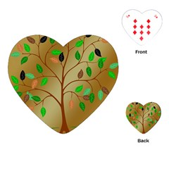 Tree Root Leaves Contour Outlines Playing Cards (heart)  by Simbadda