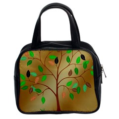 Tree Root Leaves Contour Outlines Classic Handbags (2 Sides) by Simbadda