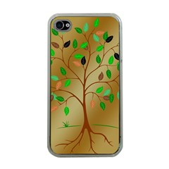 Tree Root Leaves Contour Outlines Apple Iphone 4 Case (clear) by Simbadda