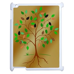 Tree Root Leaves Contour Outlines Apple Ipad 2 Case (white) by Simbadda