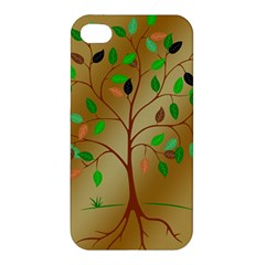Tree Root Leaves Contour Outlines Apple Iphone 4/4s Hardshell Case by Simbadda