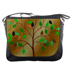 Tree Root Leaves Contour Outlines Messenger Bags by Simbadda