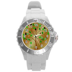Tree Root Leaves Contour Outlines Round Plastic Sport Watch (l) by Simbadda
