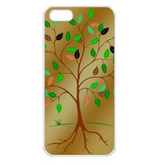 Tree Root Leaves Contour Outlines Apple Iphone 5 Seamless Case (white) by Simbadda