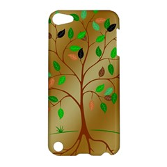 Tree Root Leaves Contour Outlines Apple Ipod Touch 5 Hardshell Case by Simbadda