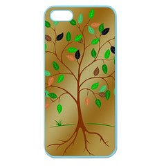 Tree Root Leaves Contour Outlines Apple Seamless Iphone 5 Case (color) by Simbadda