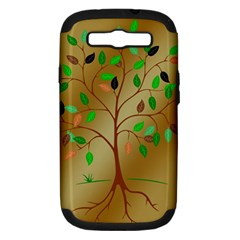 Tree Root Leaves Contour Outlines Samsung Galaxy S Iii Hardshell Case (pc+silicone) by Simbadda