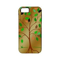 Tree Root Leaves Contour Outlines Apple Iphone 5 Classic Hardshell Case (pc+silicone) by Simbadda