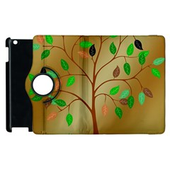 Tree Root Leaves Contour Outlines Apple Ipad 3/4 Flip 360 Case by Simbadda