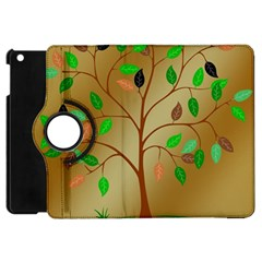 Tree Root Leaves Contour Outlines Apple Ipad Mini Flip 360 Case by Simbadda