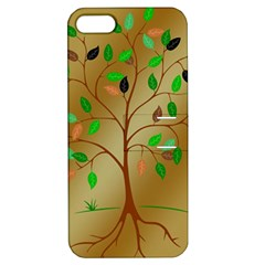 Tree Root Leaves Contour Outlines Apple Iphone 5 Hardshell Case With Stand by Simbadda
