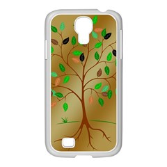 Tree Root Leaves Contour Outlines Samsung Galaxy S4 I9500/ I9505 Case (white) by Simbadda