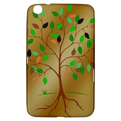 Tree Root Leaves Contour Outlines Samsung Galaxy Tab 3 (8 ) T3100 Hardshell Case  by Simbadda