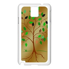 Tree Root Leaves Contour Outlines Samsung Galaxy Note 3 N9005 Case (white) by Simbadda