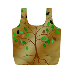 Tree Root Leaves Contour Outlines Full Print Recycle Bags (m)  by Simbadda