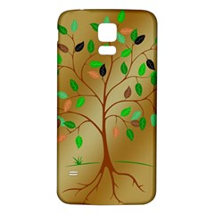 Tree Root Leaves Contour Outlines Samsung Galaxy S5 Back Case (white)