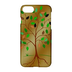 Tree Root Leaves Contour Outlines Apple Iphone 7 Hardshell Case by Simbadda