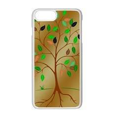 Tree Root Leaves Contour Outlines Apple Iphone 7 Plus White Seamless Case by Simbadda