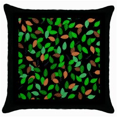 Leaves True Leaves Autumn Green Throw Pillow Case (black) by Simbadda