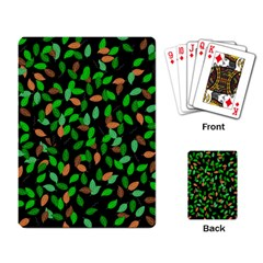 Leaves True Leaves Autumn Green Playing Card by Simbadda