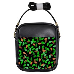 Leaves True Leaves Autumn Green Girls Sling Bags by Simbadda