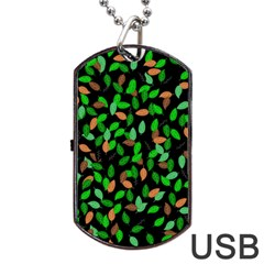 Leaves True Leaves Autumn Green Dog Tag Usb Flash (two Sides) by Simbadda