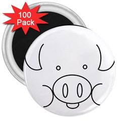 Pig Logo 3  Magnets (100 Pack) by Simbadda
