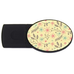 Seamless Spring Flowers Patterns Usb Flash Drive Oval (2 Gb) by TastefulDesigns