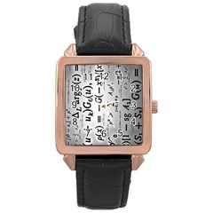 Science Formulas Rose Gold Leather Watch