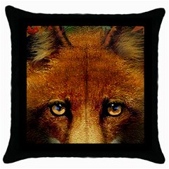 Fox Throw Pillow Case (black) by Simbadda