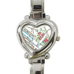 Paris Map Heart Italian Charm Watch by Simbadda