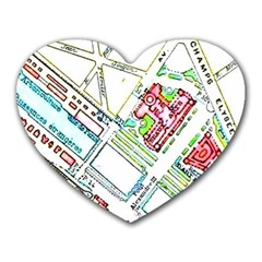 Paris Map Heart Mousepads by Simbadda