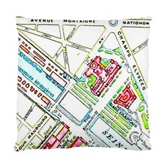Paris Map Standard Cushion Case (one Side) by Simbadda