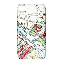 Paris Map Apple Iphone 4/4s Hardshell Case With Stand by Simbadda