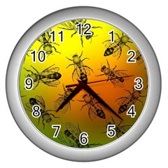 Insect Pattern Wall Clocks (silver)